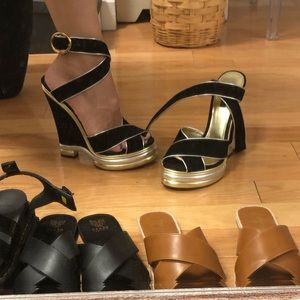 Dolce & Gabbana suede and leather platform sandals